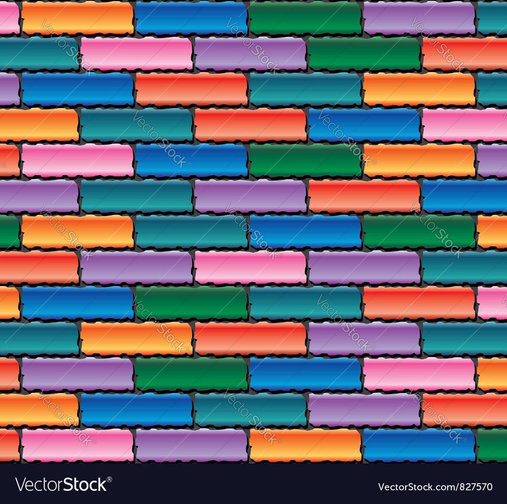 Colorful brick wall vector image