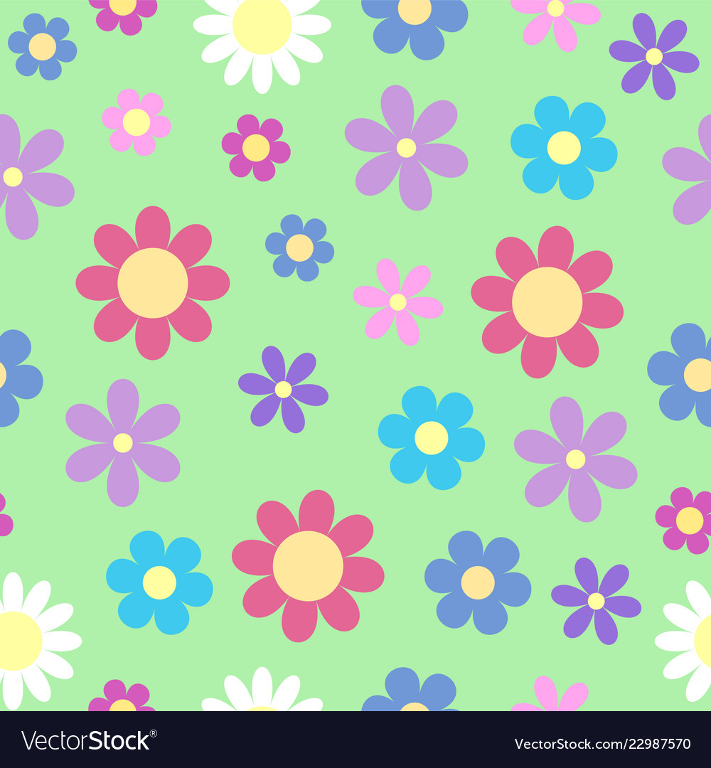 Cute stylized daisy flower seamless pattern on