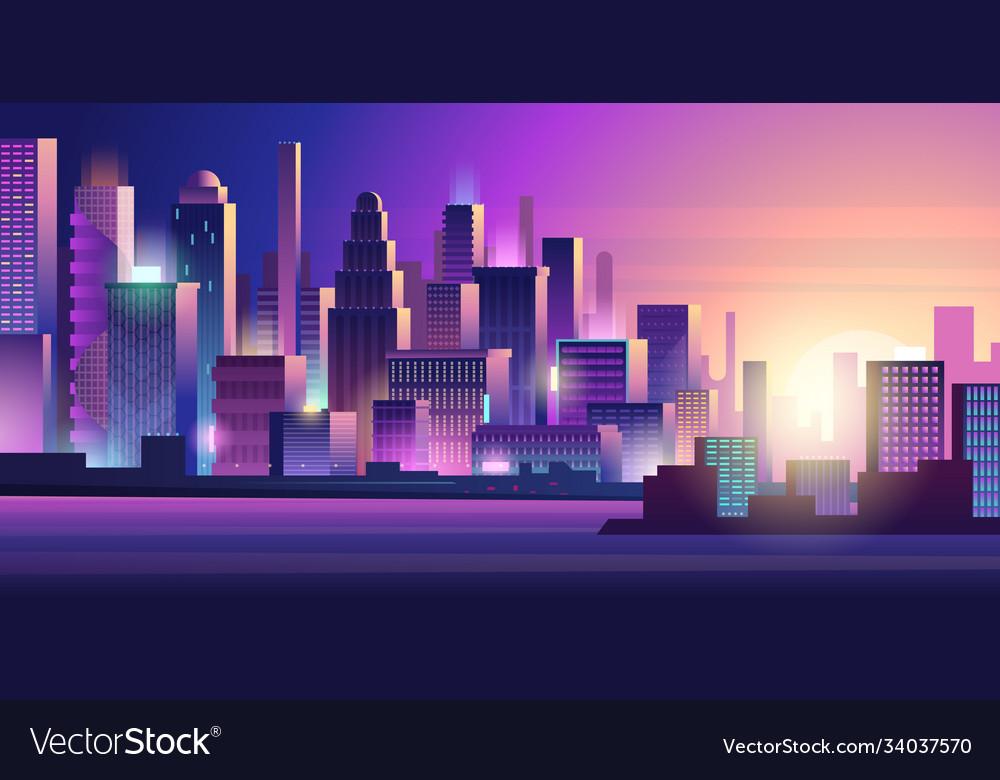 Cyberpunk city neon glow lighting urban landscape