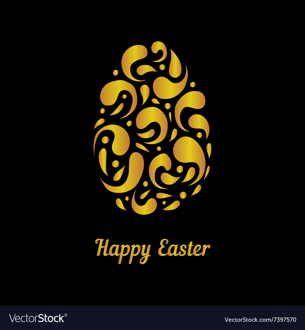 Greeting card with gold easter egg-2