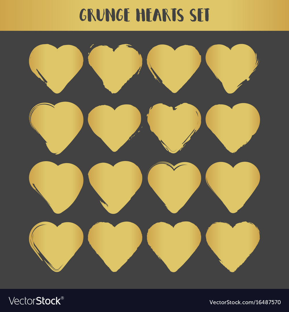 Grunge gold hearts set abstract