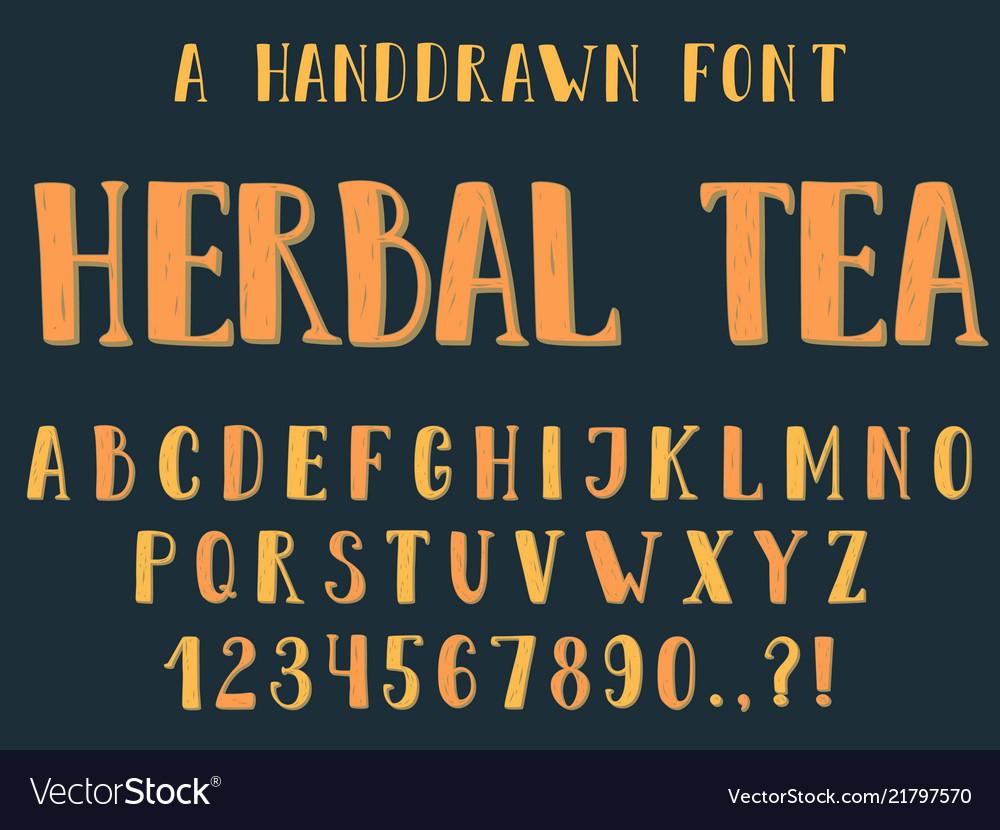 Handdrawn inky sans serif alphabet