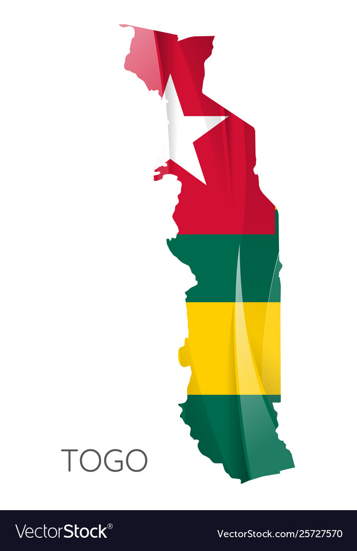 Map togo with national flag