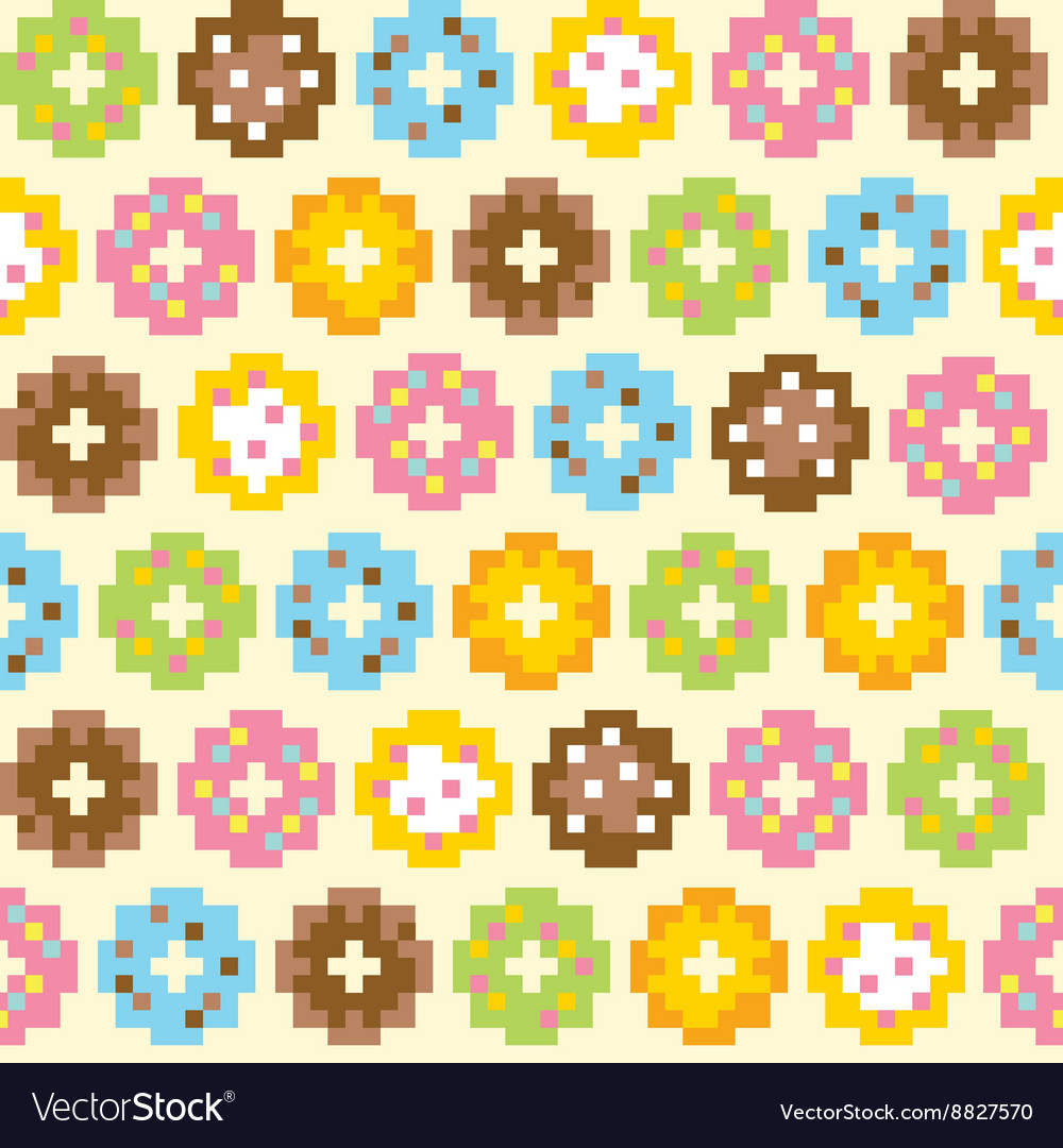 Pixel Art Style Donut Seamless Background Vector Image On VectorStock