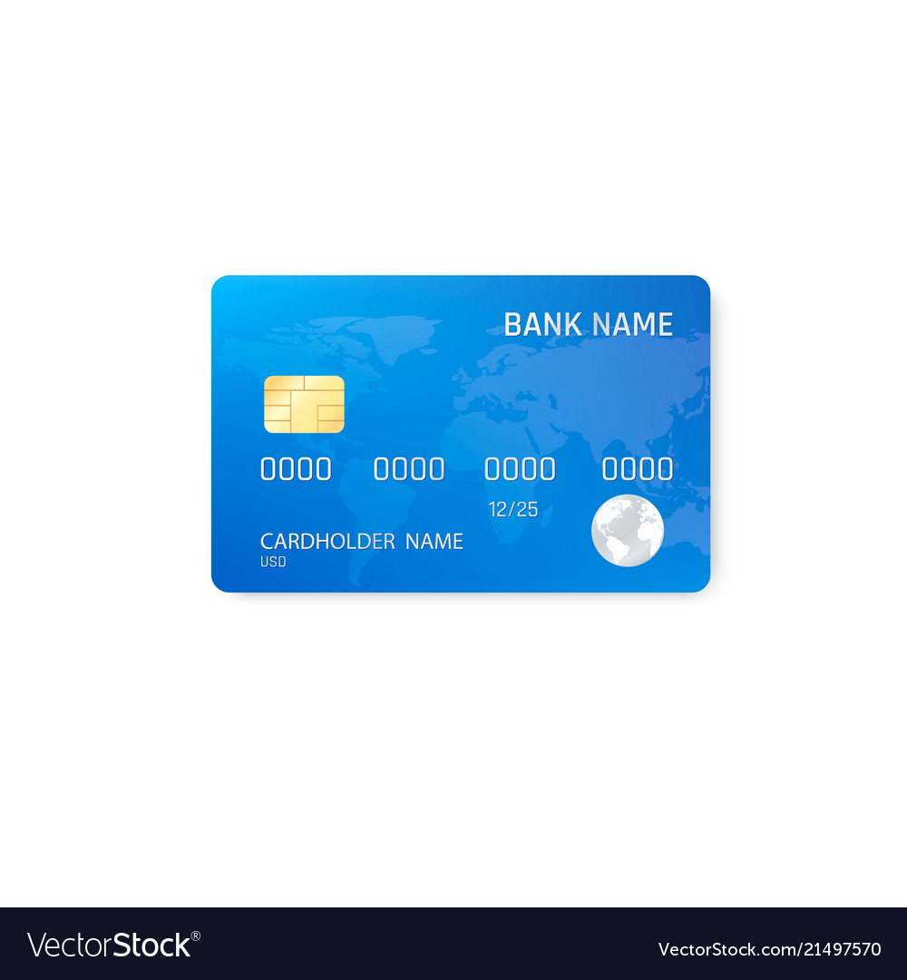 realistic credit card template plastic blue vector image