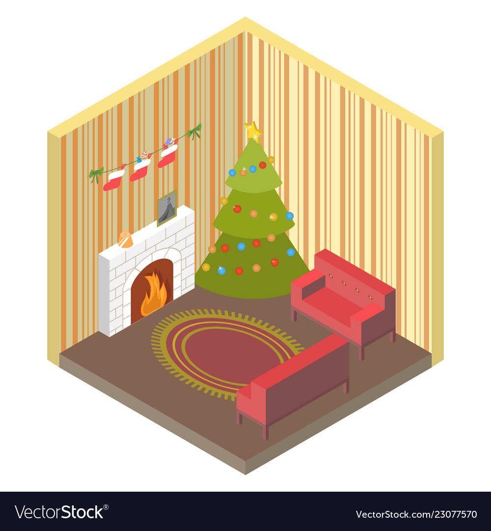 Room isometric with christmas treefireplace