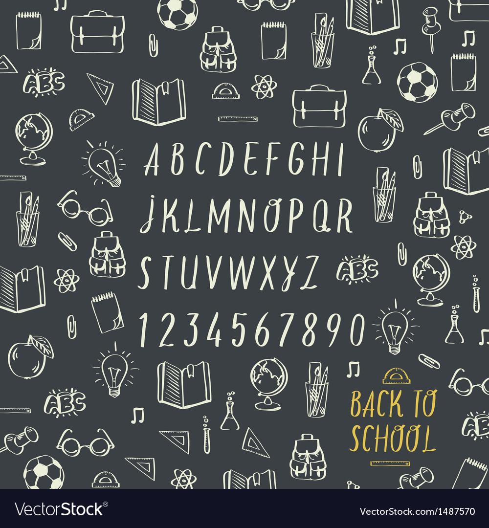 schools hands draw chalk written font royalty free vector