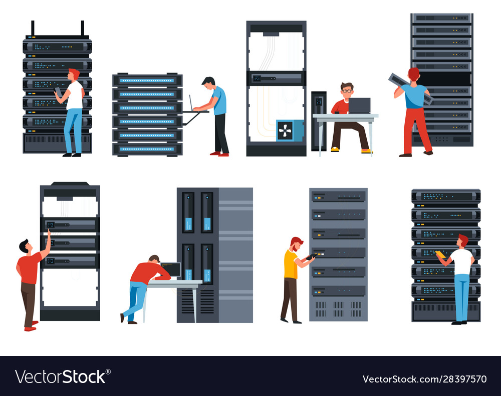 Server racks digital information and data center