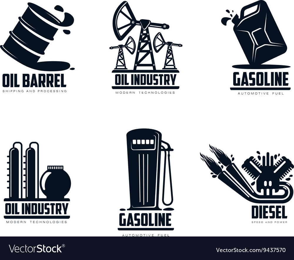 Set of logos with oil and petrol station
