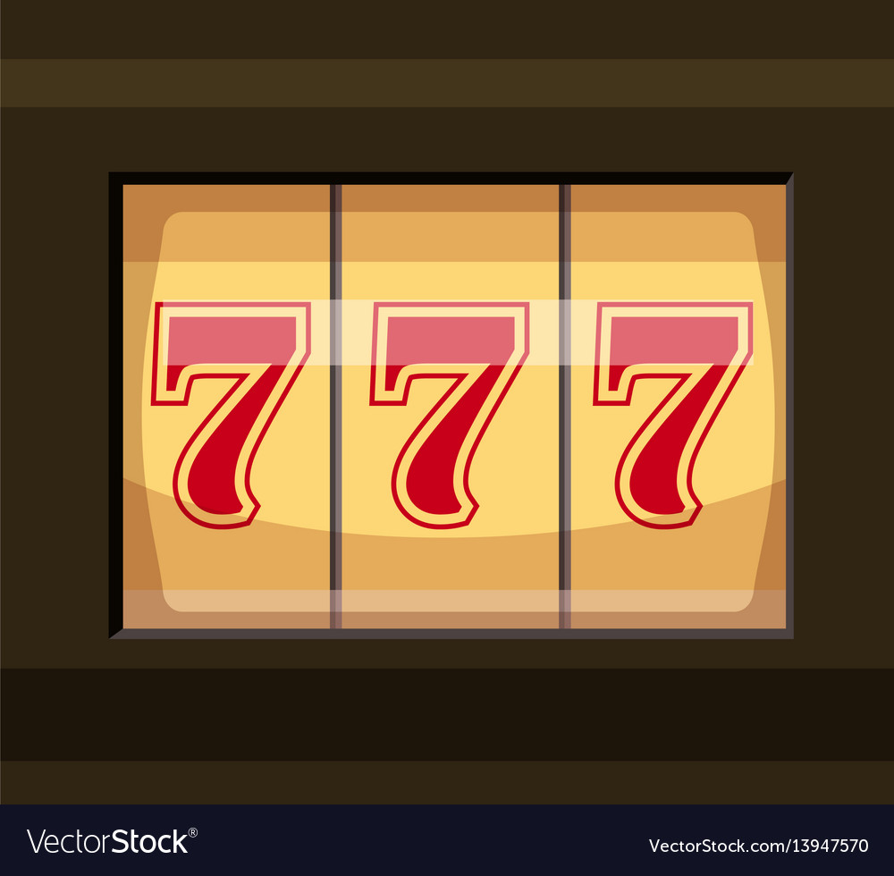 Slot machine with three sevens icon cartoon style
