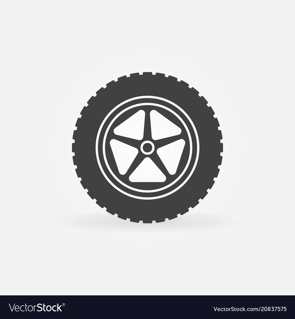 Car wheel with tire icon or logo element