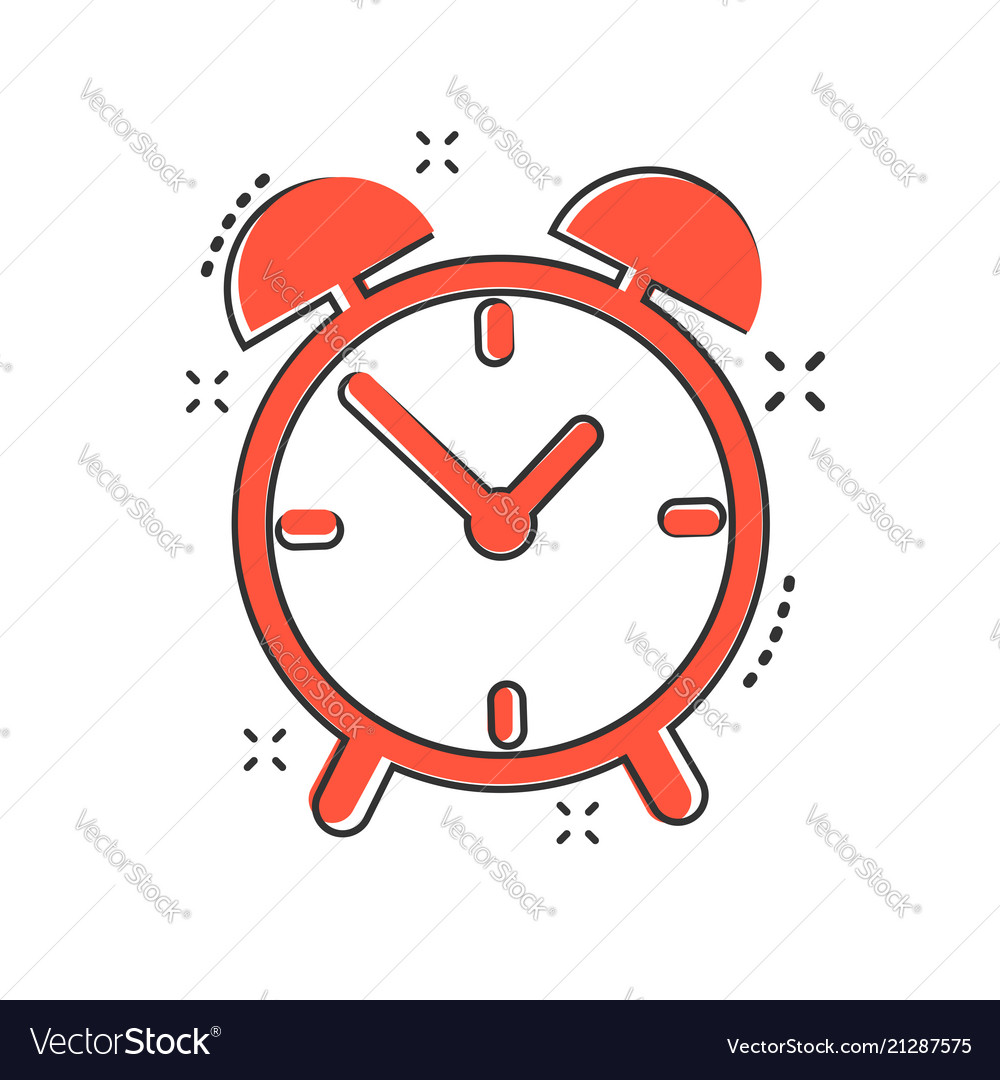 Cartoon alarm clock icon in comic style timer