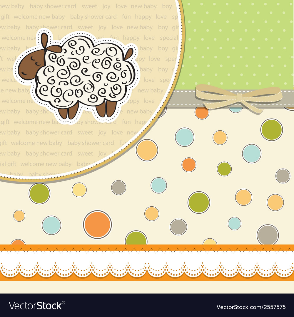Cute Baby Shower Card With Sheep Royalty Free Vector Image