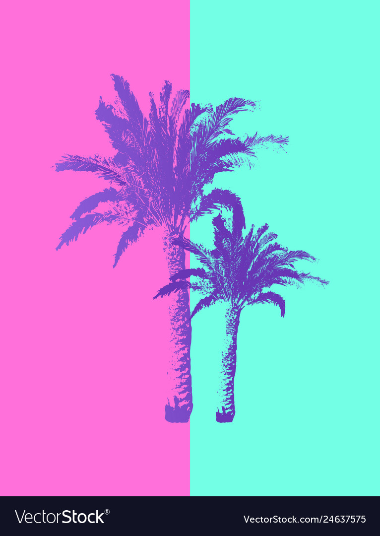 Hand drawn palm trees isolated on pastel colors