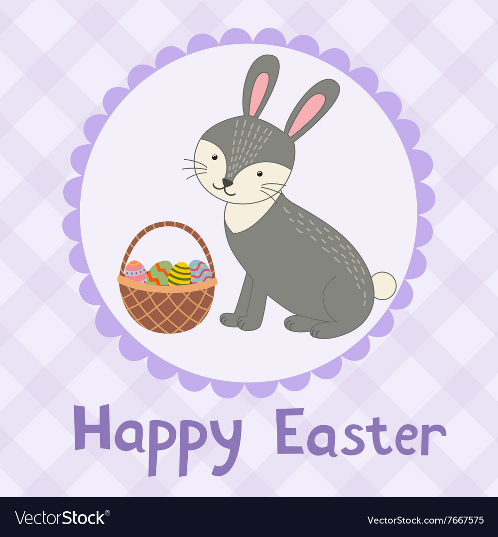 Happy Easter greeting card with a cute rabbit