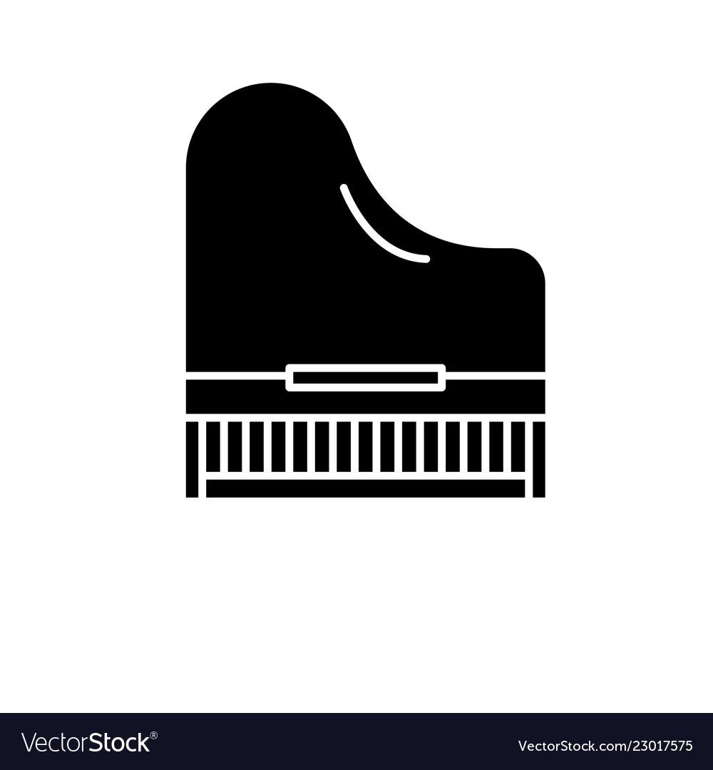 Piano black icon sign on isolated