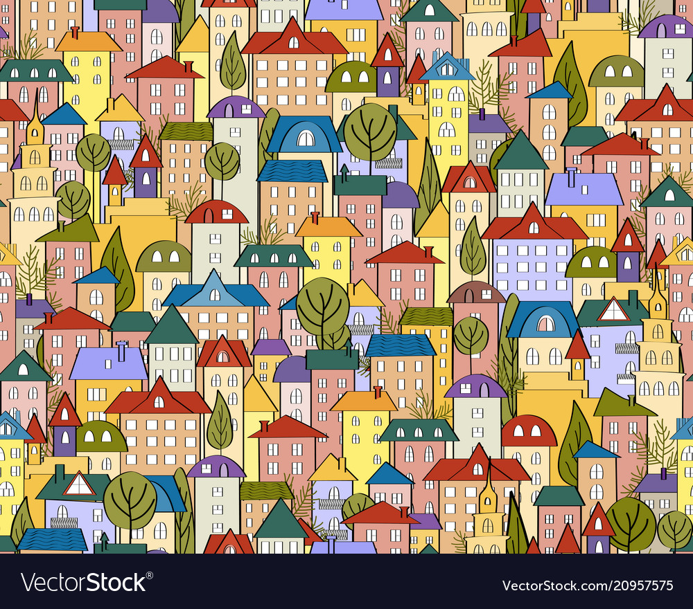 Seamless colored city background with cute houses