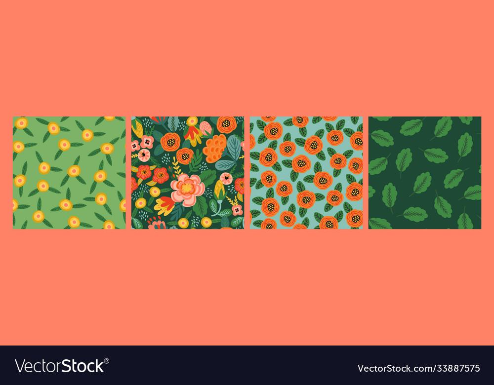Set folk floral seamless patterns modern