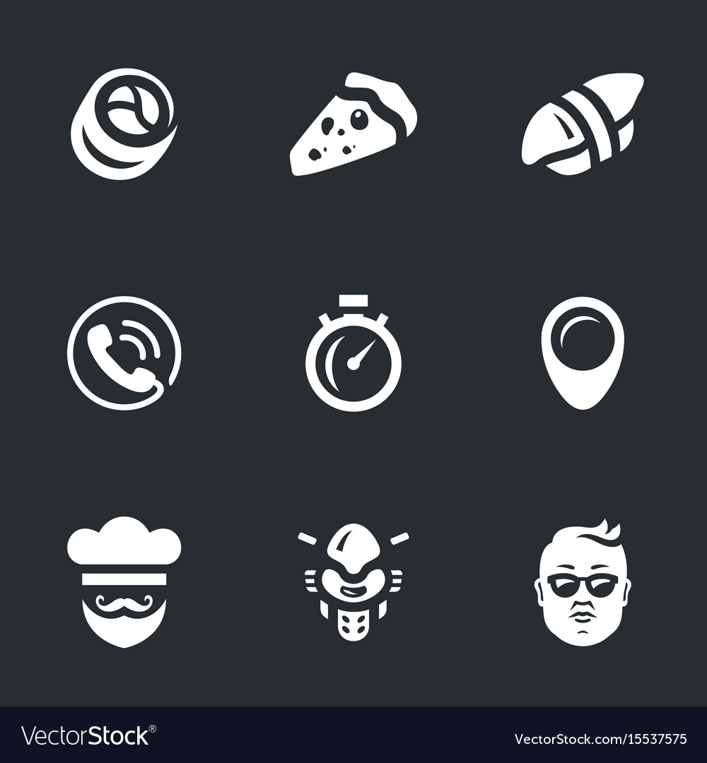 Set of fast food delivery icons vector image