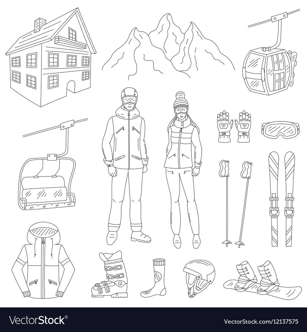Ski resort line icons set vector image