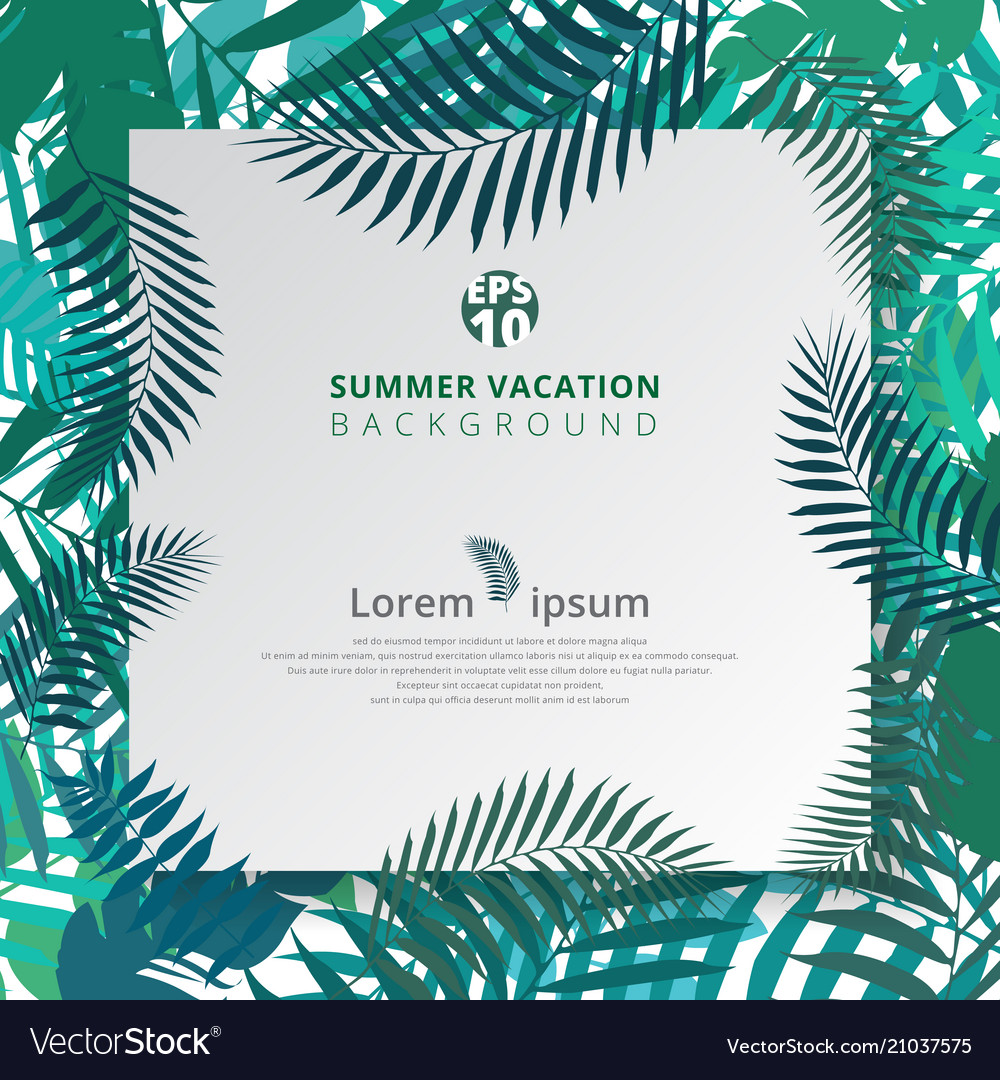Summer tropical with exotic palm leaves or plants