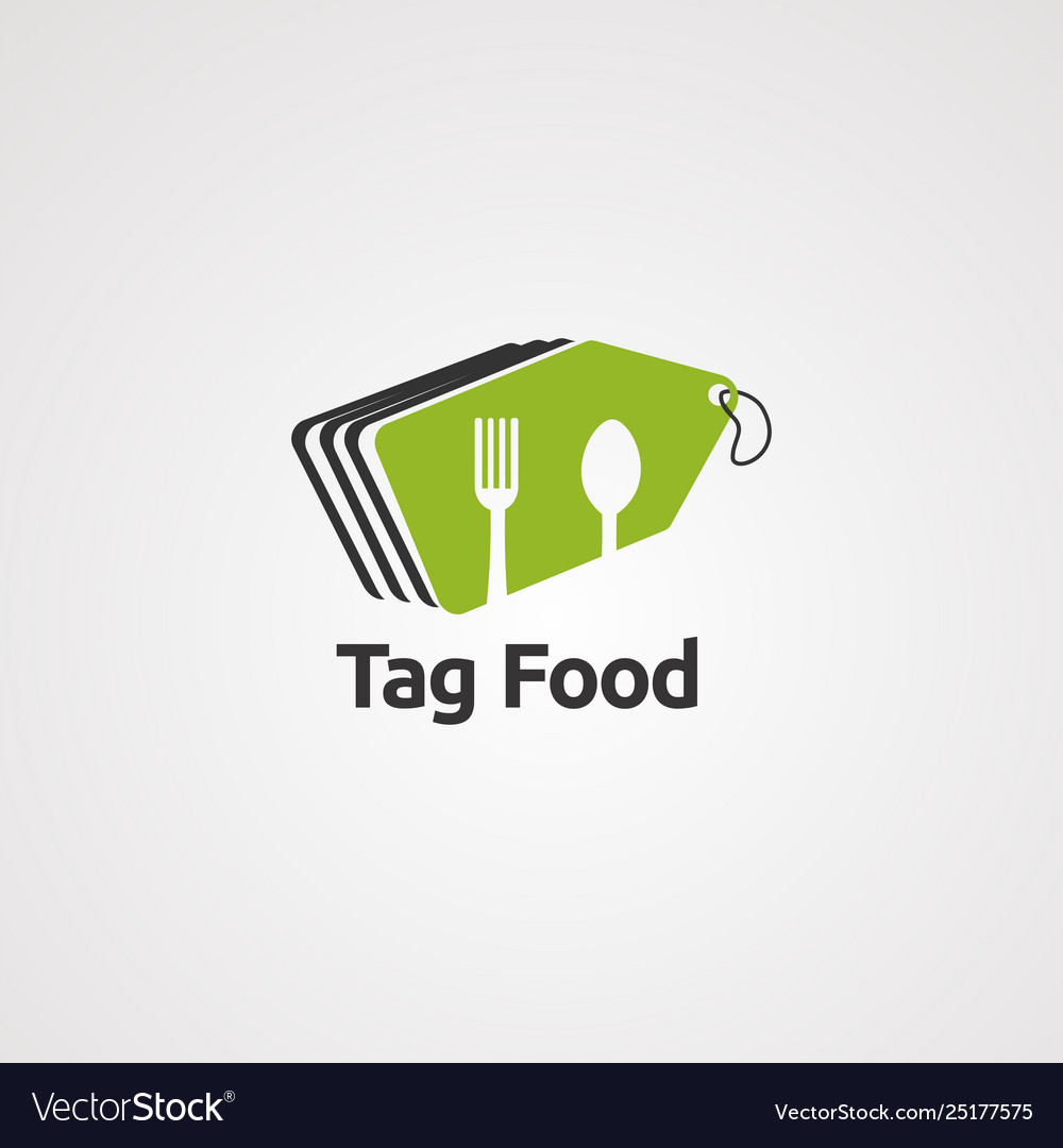 Tag food logo icon element and template