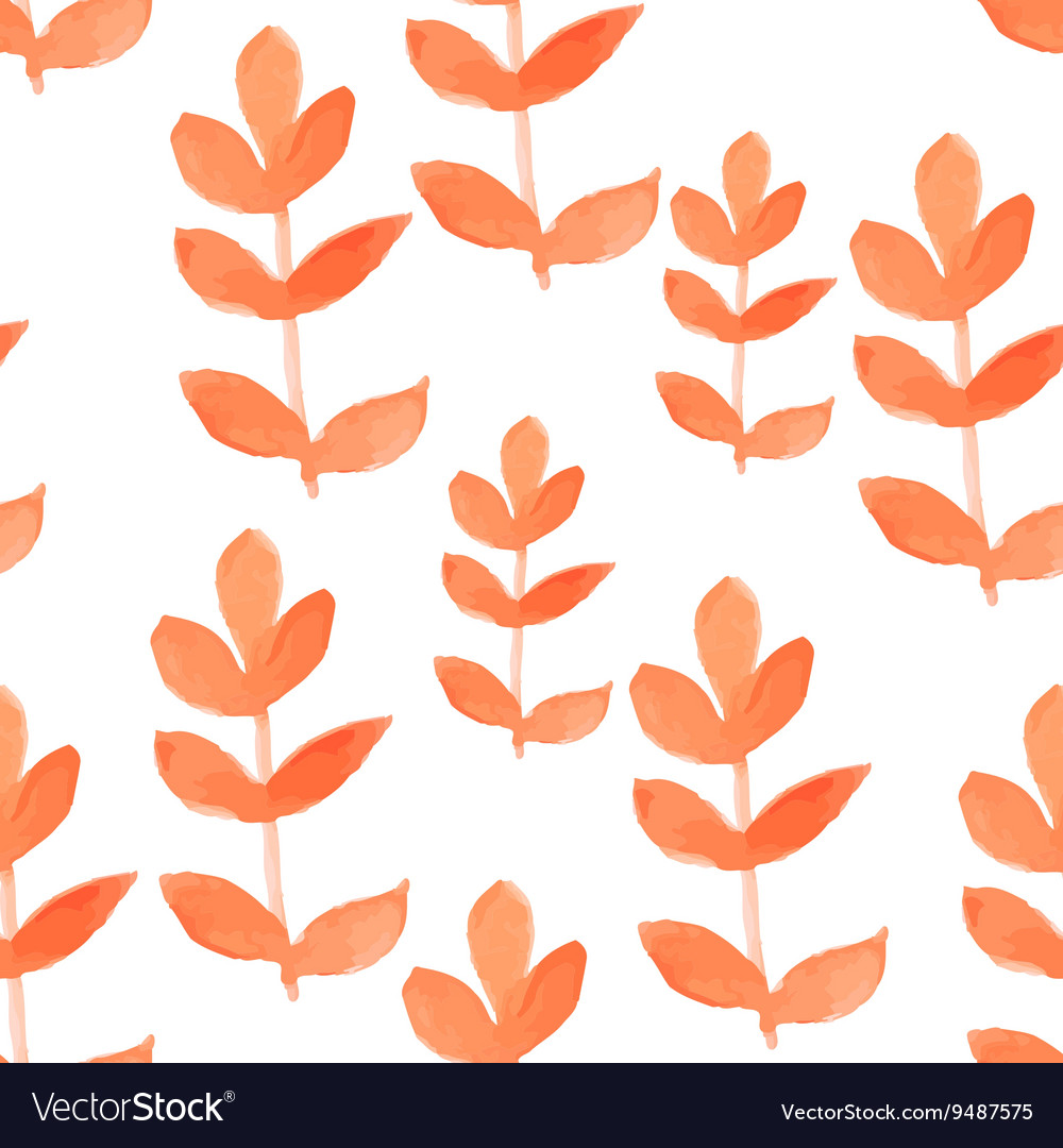 Watercolor red leaf seamless pattern