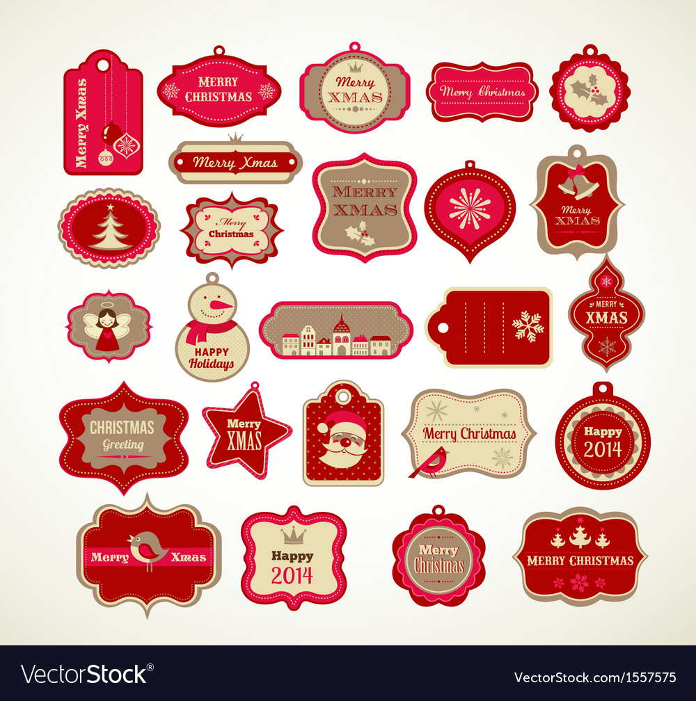 xmas set labels tags and decorative elements vector image on vectorstock - Decorative Christmas Labels