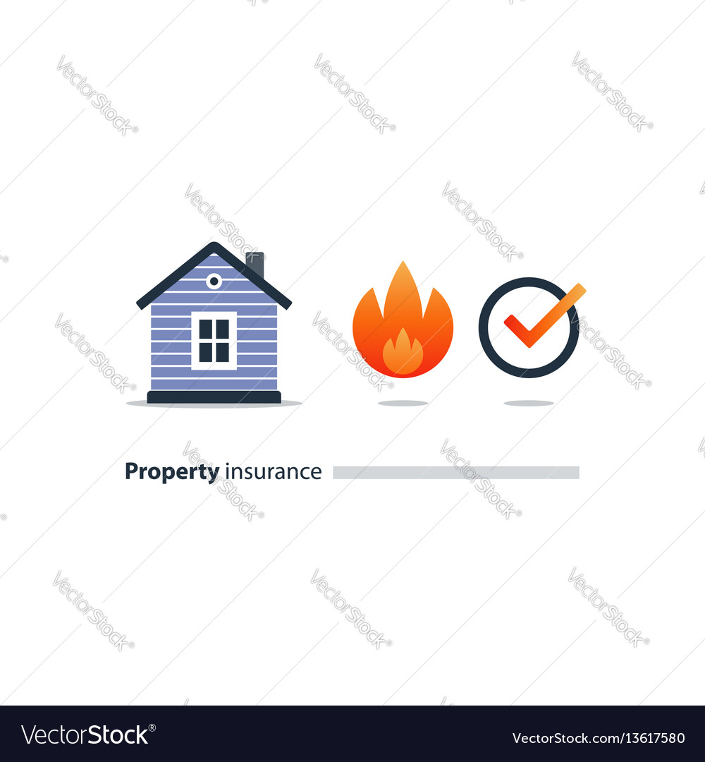 Burning building fire insurance safety concept
