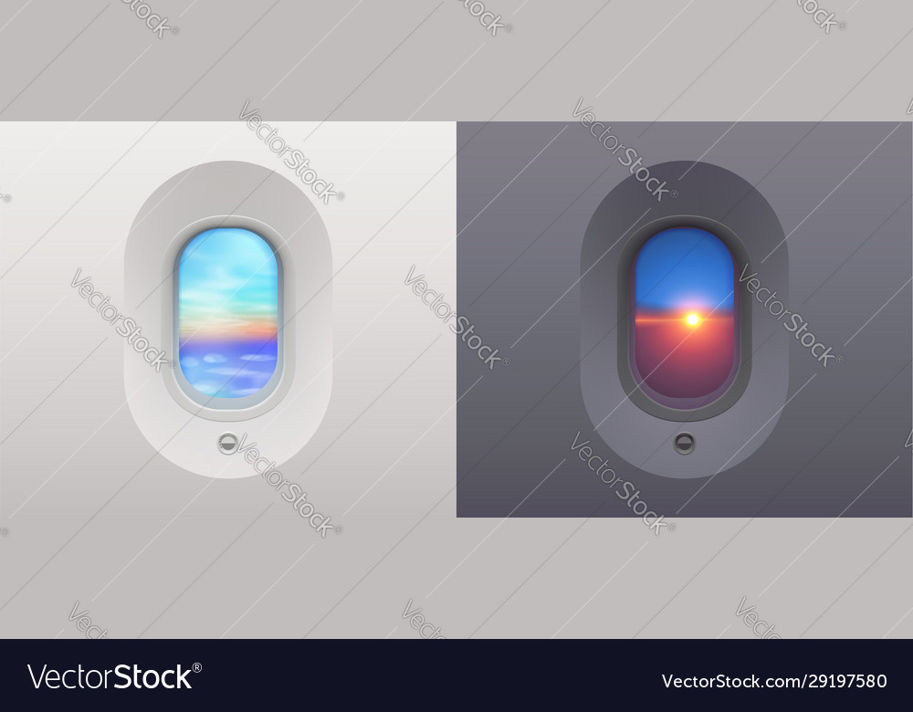 Day and night plane windows views to blue sky and