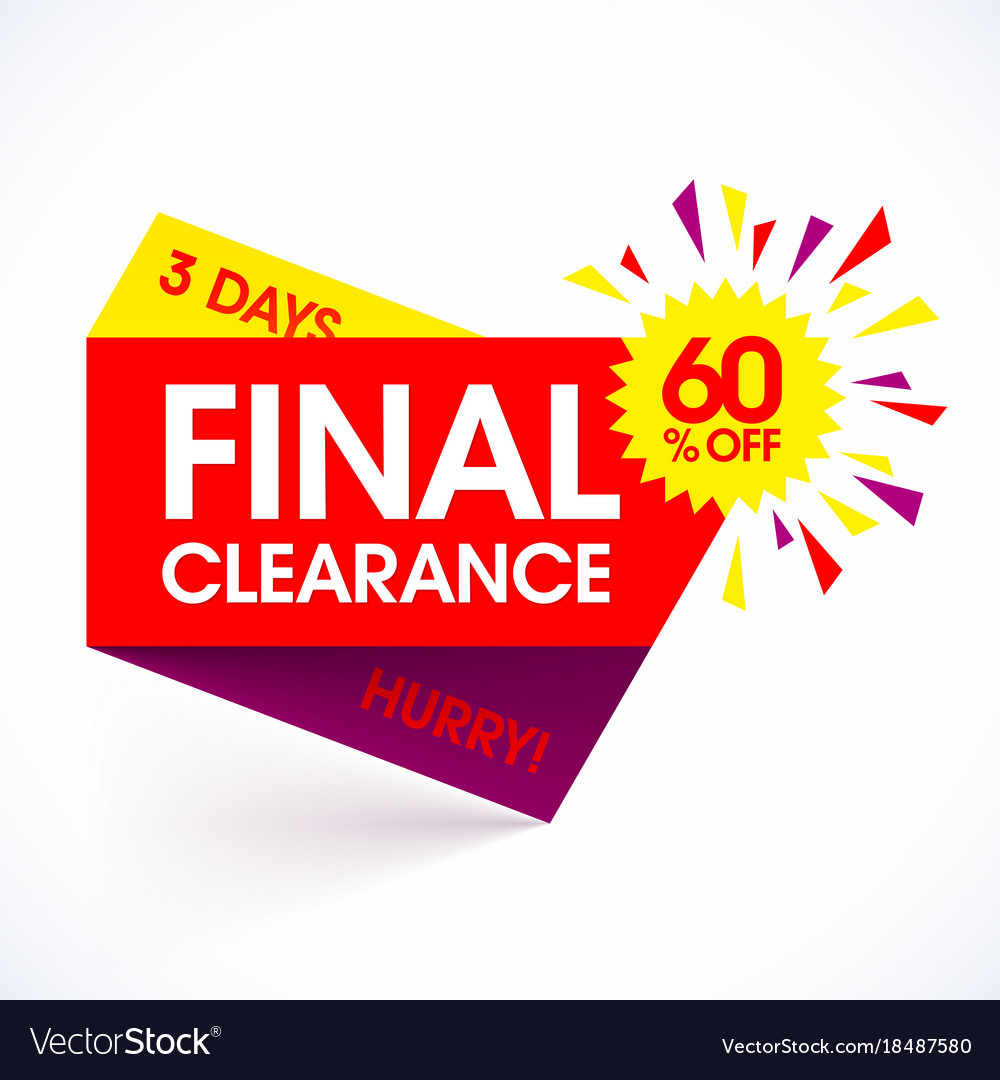 Final Clearance Sale Paper Banner Design Template Vector Image