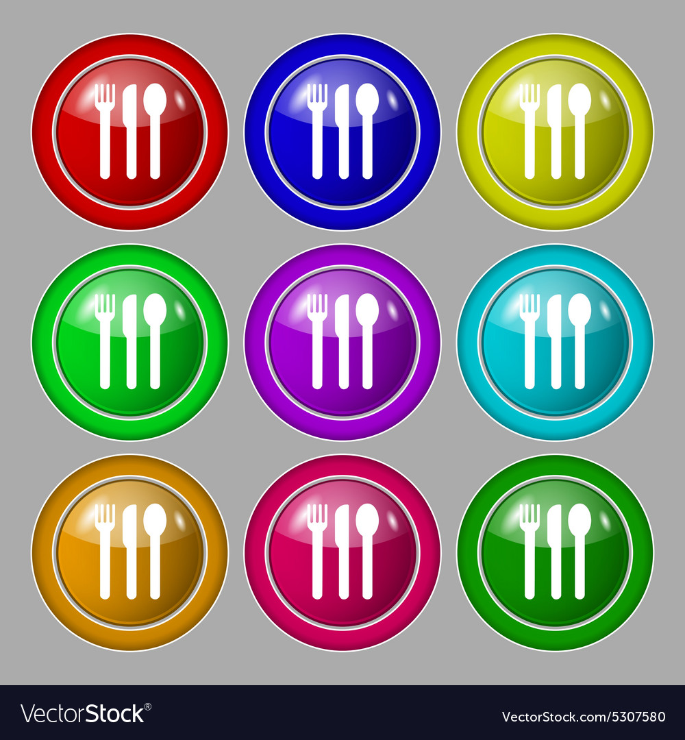 Fork knife spoon icon sign symbol on nine round vector image