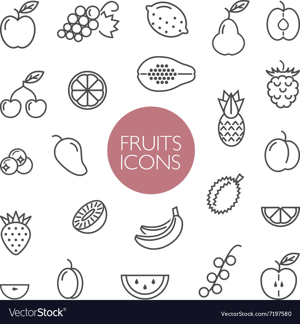 Fruits and berries lines icons