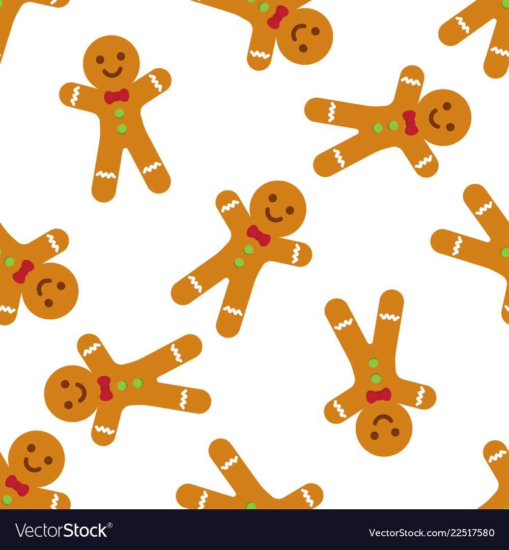 Gingerbread man seamless pattern
