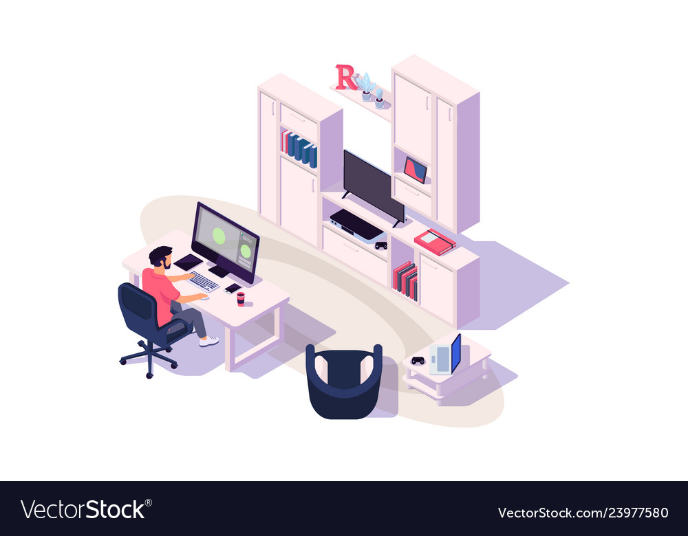 Isometric 3d cozy workplace with businessman at