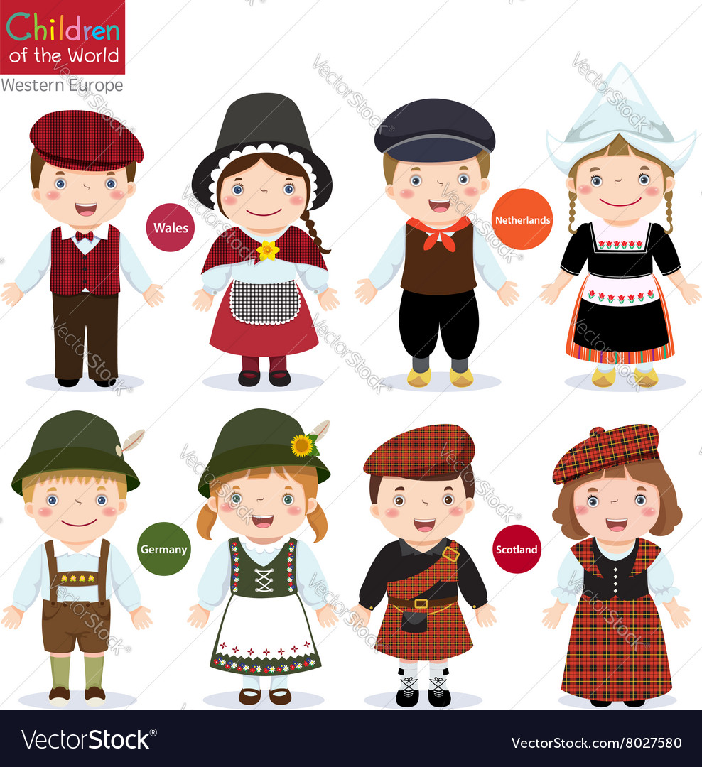 Kids in different traditional costumes Wales