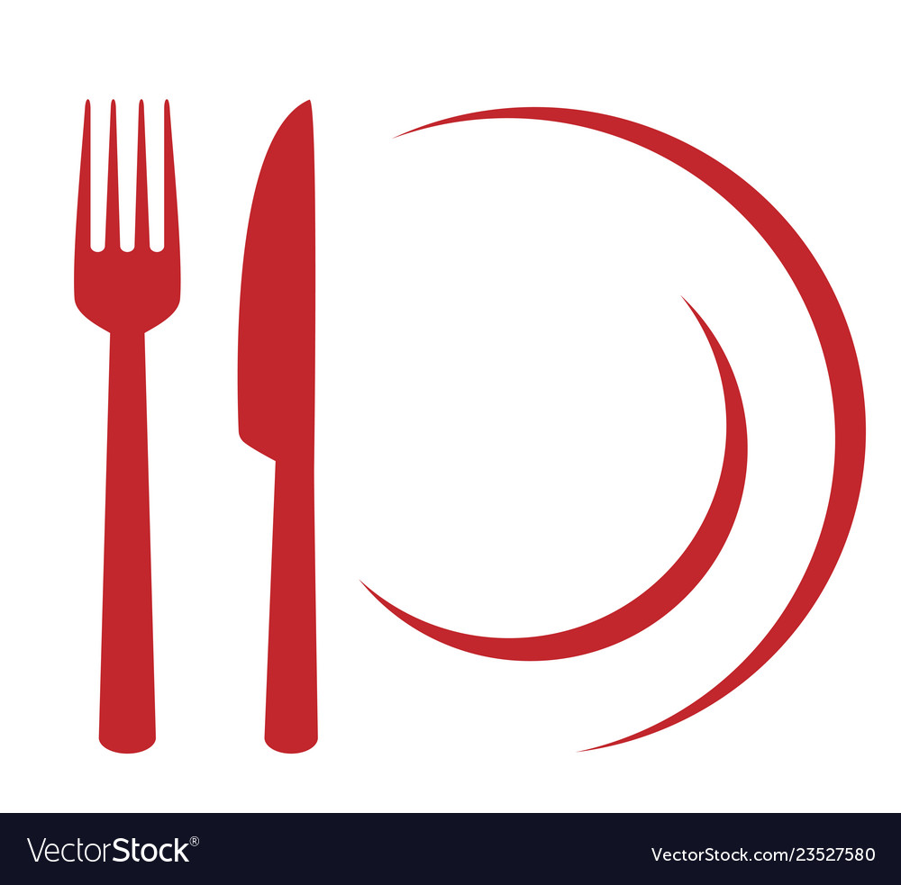 Restaurant sign with plate fork and knife