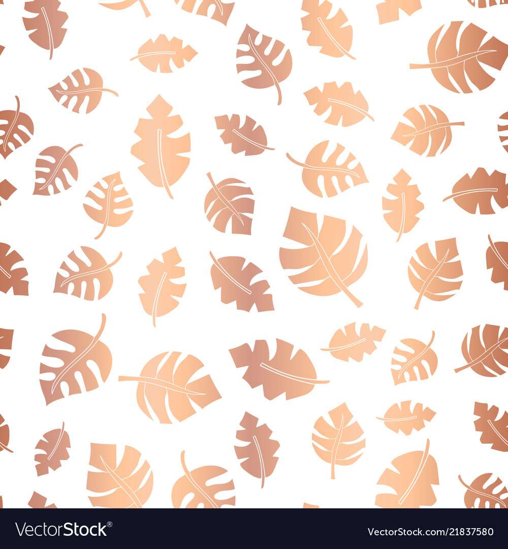 Rose gold foil leaves seamless background