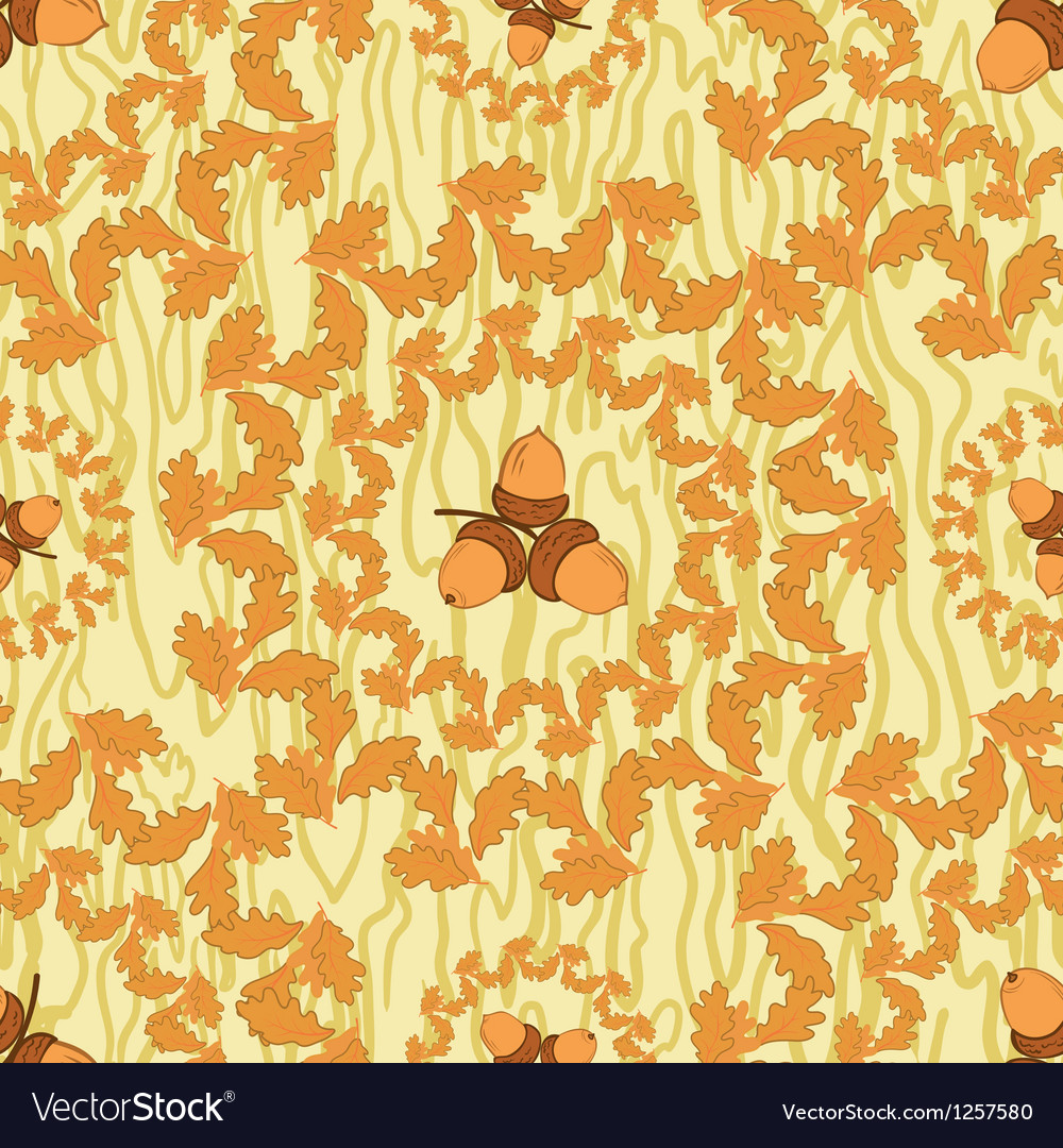 Seamless background with leaves and acorns vector image
