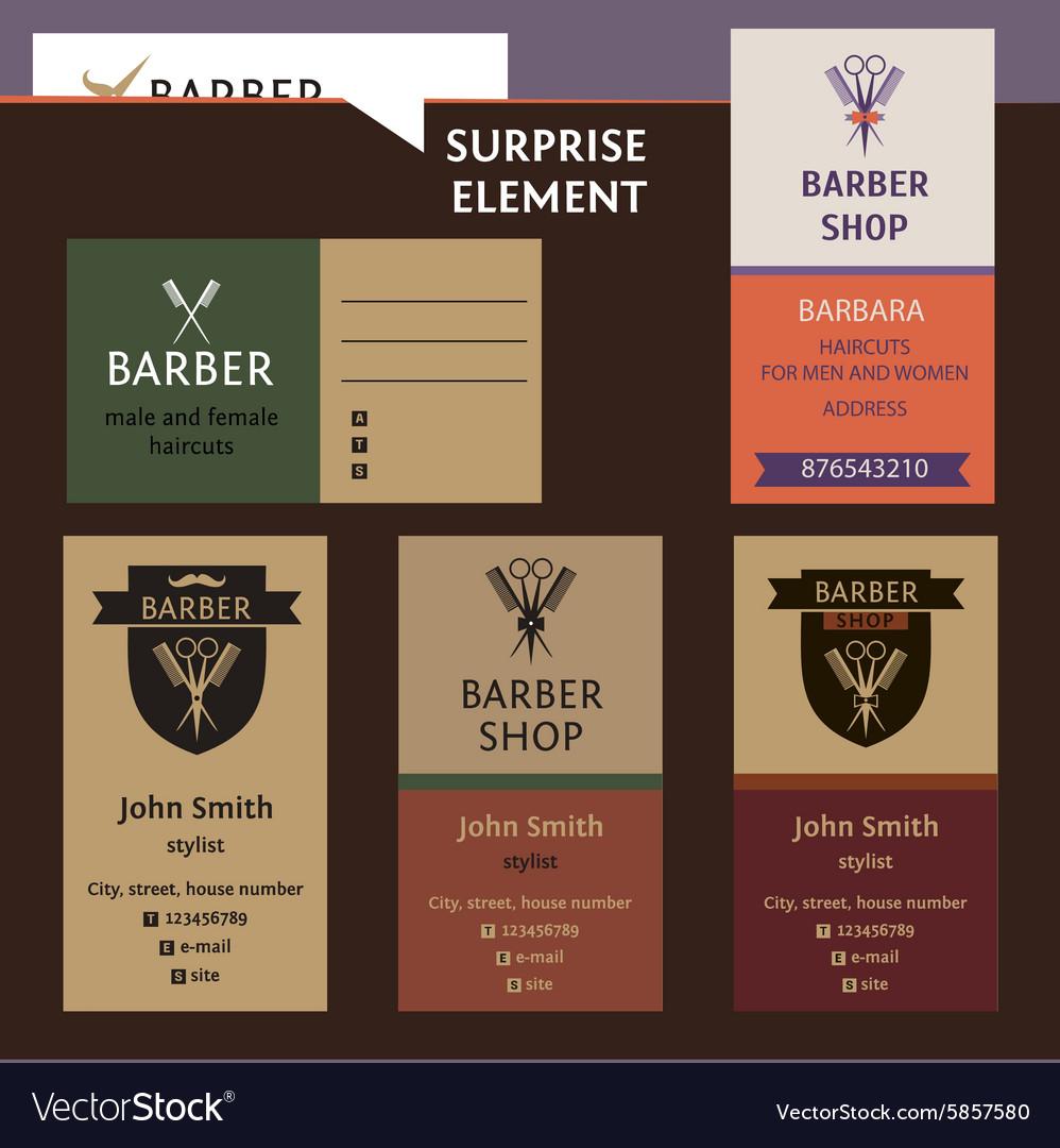 Set of logo for barber shop style corporate salon