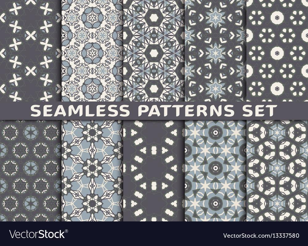 Set of ten geometric seamless patterns