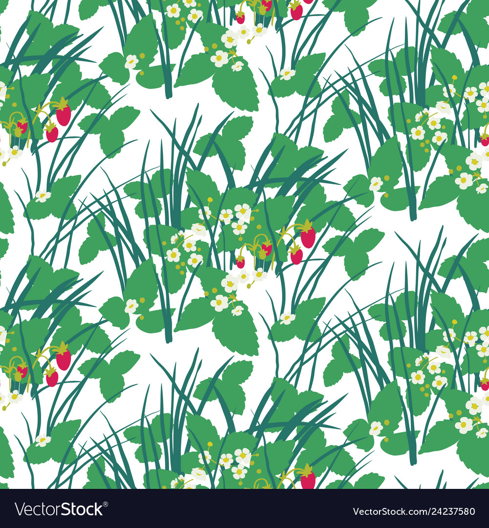 Strawberry field in the forest seamless pattern