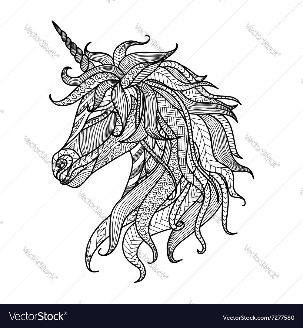 Unicorn Zentangle Coloring Book Vector Image