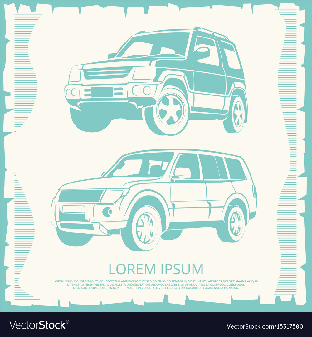 Vintage poster with jeep cars design vector image