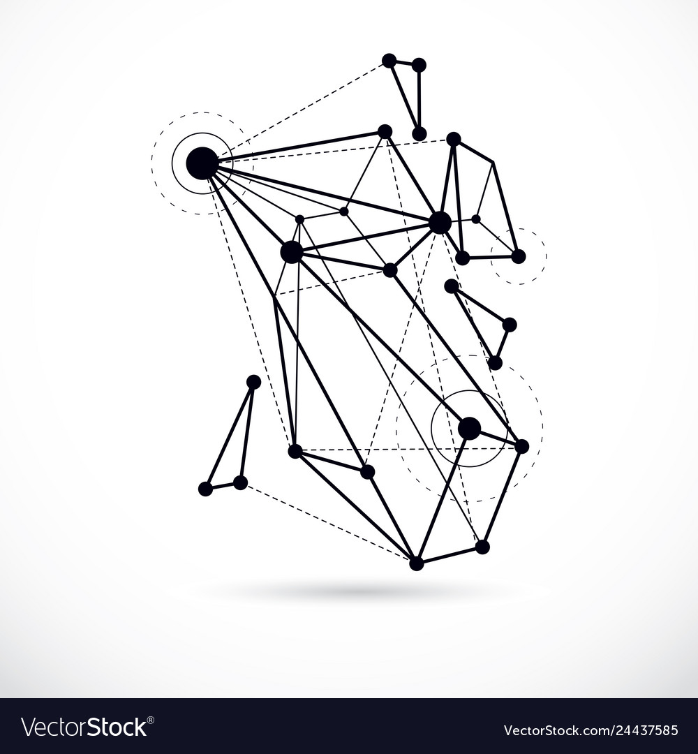Abstract geometric 3d wireframe object digital