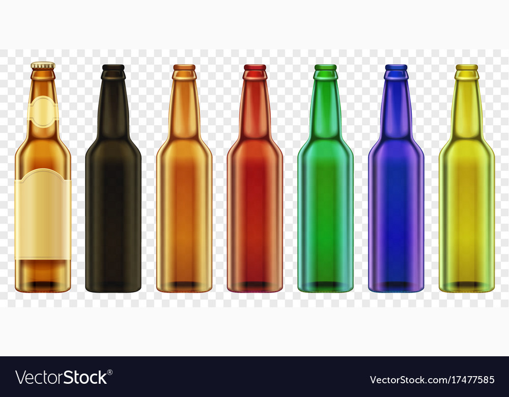 Beer bottle color glass isolated packaging vector image