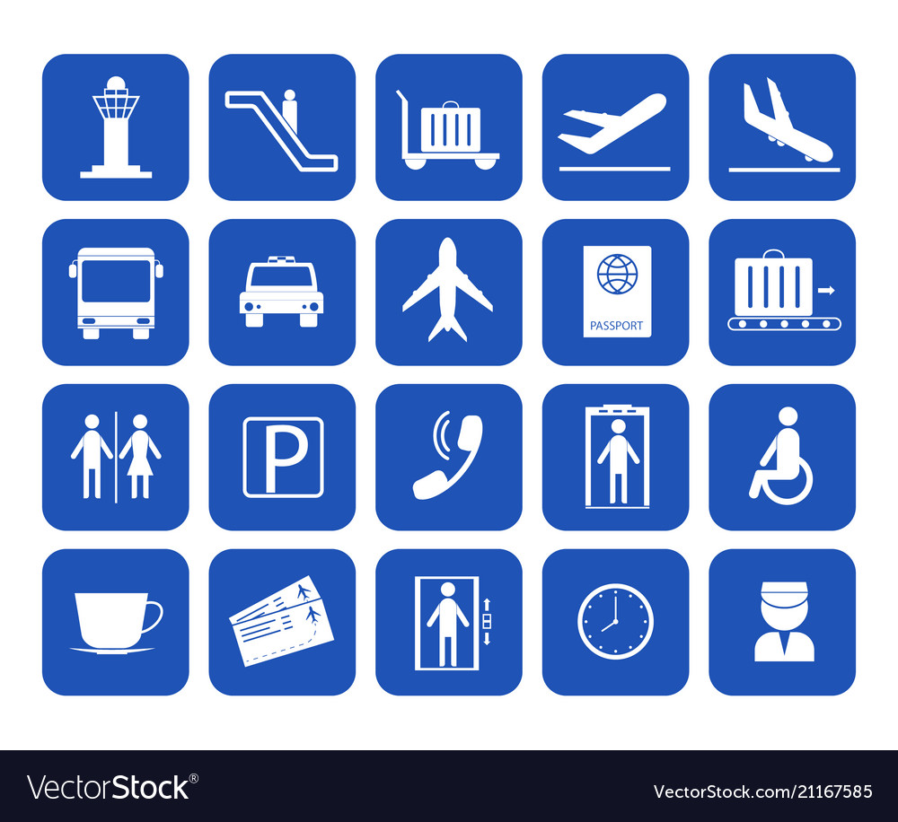 Cartoon silhouette airport icons set
