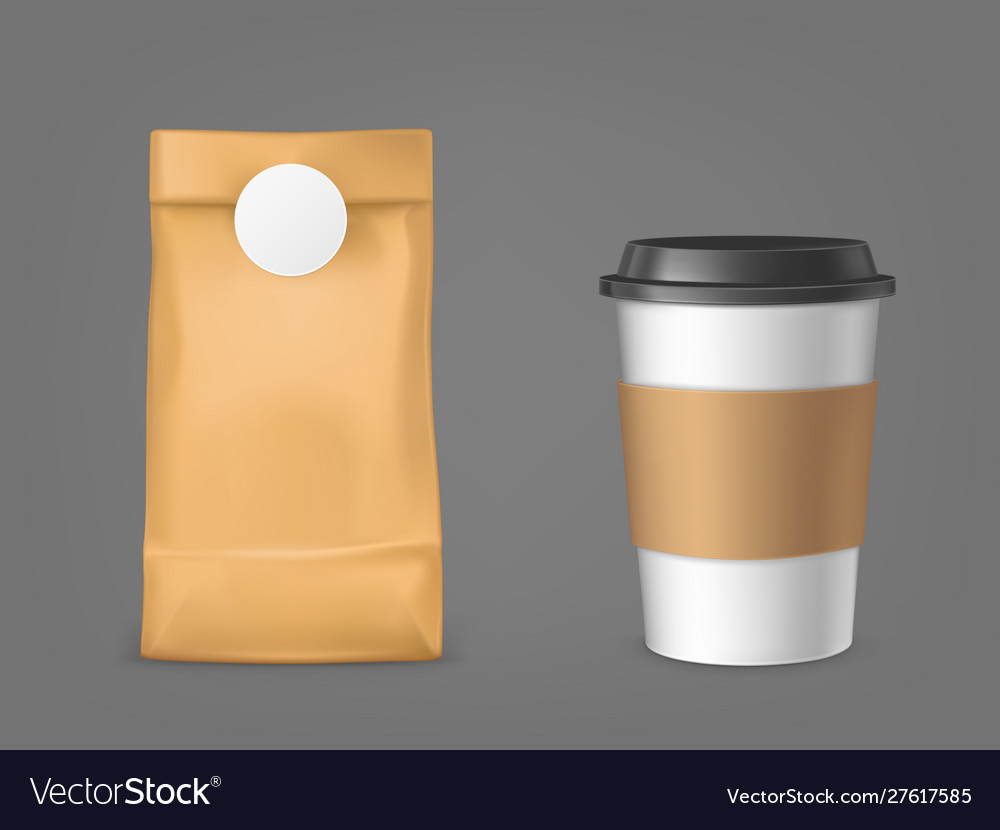 Coffee bag and disposable cup design elements set