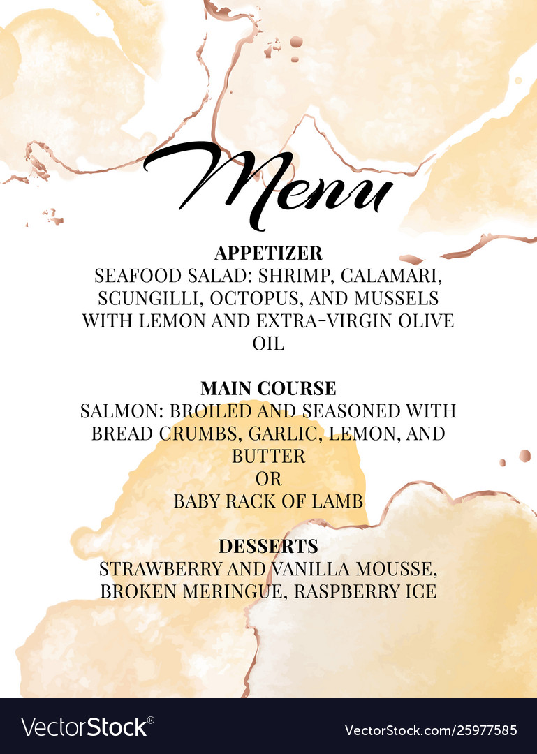 Hend-drawn wedding menu template beautiful tender