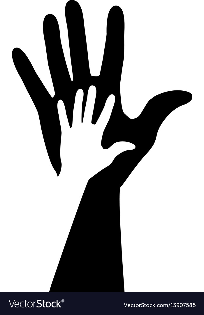 Monochrome silhouette of hand with shadow